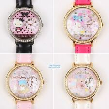 JAPAN SANRIO HELLO KITTY MY MELODY LITTLE TWIN STARS LEATHER STRAP WATCH