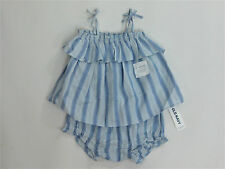 NWT Toddler Girls Old Navy Size 0 3 6 Months Blue Striped Ruffle Set Romper