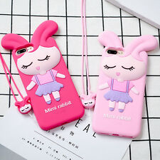 Cartoon 3D Cute Rabbit ear Strap Silicone Soft case cover for iphone 7 6 6S plus
