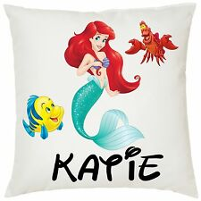 Personalised Kids Ariel Mermaid Soft Cushion Cover - 40x40cm - Great Gift!!