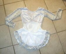 NEW Girls WHITE SEQUIN Confetti Dot VELVET Competition Figure ICE SKATING Dress