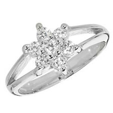 Children's Sterling Silver Cubic Zirconia Flower Cluster Signet Ring G7461