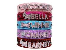 Bling Personalized Dog Collar Customized Free Name Rhinestone Buckle Pink Letter