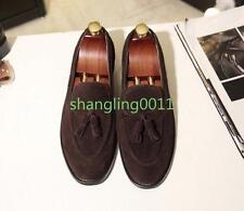 Mens Fashion Brogue Suede Tassel Flats Round Toe Slip On Loafers Dress Shoes 44