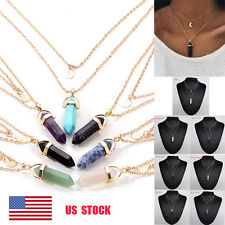 Women Multi-layer Crystal Amethyst Pendant Alloy Layer Jewelry Chain Necklace