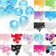 Acrylic Transparent Beads Faceted Jewelry Making Bracelet 4/8/10/12mm Wholesale