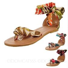 Womens Ladies Sandals Ankle Strap Bohemian Toe Post Leather  Thong Shoes sz 4