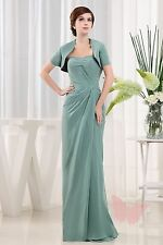 2 Piece Full Length Chiffon MOTHER OF BRIDE OUTFIT SIZE 6,8,10,12,14,16++++