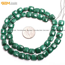 """Mala Square Coin Natural Malachite Gem Stone Loose Beads For Jewelry Making 15"""""""