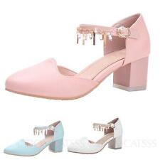 Pumps Casual Block Heeled Vintage Womens Ankle Strap Office Shoes sz 4