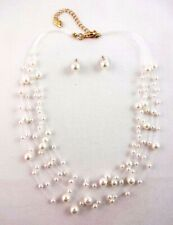Floating pearl necklace earring set lobster clasp simulated pearls