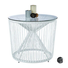 Design Side Table, Round, Glass Table Top, Black & White, Outdoor Balcony Table