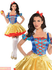 Ladies Snow White Costume Womens Fairytale Disney Princess Fancy Dress Outfit
