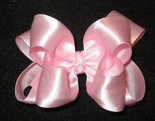 Baby Pink Satin Double Layered Fancy Hair Bow Girls Glamor Party Hairbow Pageant