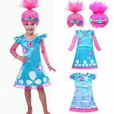 Toddler Kid Girl Wig Trolls Poppy Fancy Dress Costume Cosplay Party Outfit 4-11Y