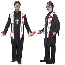 Smiffy's Mens Zombie Priest Costume Halloween Vicar Fancy Dress Outfit