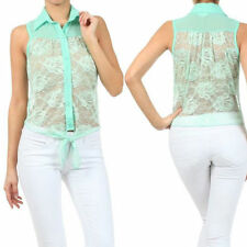 S M L Blouse Top Sheer Lace Mint Floral Collar Button Down Tie Hem Sleeveless