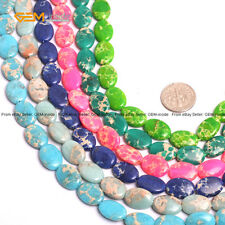 """Natural Stone Dyed Oval Olivary  Sea Sediment Stone Beads For Jewelry Making 15"""""""