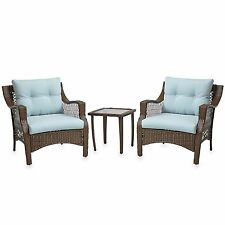 Wicker Chair Patio 3 Piece Outdoor Set Furniture Dining Chairs Table Cushion