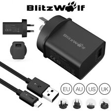 BlitzWolf BW-S9 18W USB Charger EU US UK AU Adapter With 2.4A 1m Micro USB Cable