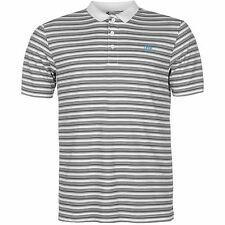 Dunlop Stripe Polo Shirt Mens White/Black Collared T-Shirt Top Tee Sportswear