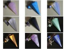 Gemstone crystal Faceted quartz jade six side pendulum point pendant  chain 6''