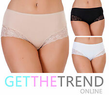 Womens Full Brief With Lace Ladies Underwear 3 Pack New Comfort Panties Knickers