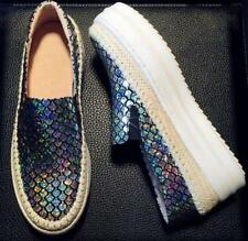 Womens Sneakers Bling Sequins Thick Sole Casual Pumps Slip On Shoes Sport Plus