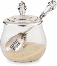 Mud Pie Glass Sugar Bowl with Spoon