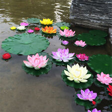 10Colors Artificial Lotus Water Lily Floating Flower Pond Tank Plant Ornament