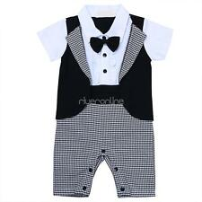 Infant Toddler Baby Boy Romper One-Piece Cotton Suit Outfit Bodysuit Wedding New