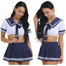 2Pcs Women School Girl Students Uniform Cosplay Costume Sailor Role Play Set New
