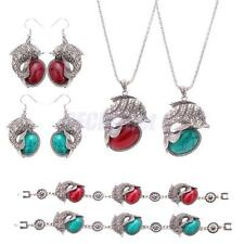 Silver Dolphin Necklace Charm Pendant Necklace Earrings Turquoise Jewelry Set