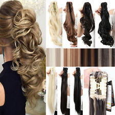 Long Claw Clip on Ponytail Clip in Pony tail Hair Extensions Black Blonde Mix A1