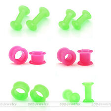 1 Pair Thin Silicone Soft Flexible Double Flared Ear Tunnel Plugs Expanders