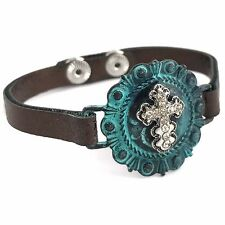 Western Cowgirl Hammered Rhinestone Cross Concho West Leather Snap Bracelet