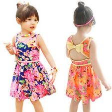 Toddler Kids Girls Summer Floral Printed Dress Sleeveless Princess Party Pageant