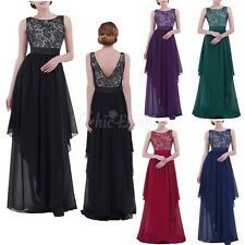 Womens Chiffon Lace Long Wedding Bridesmaid Dress Evening Formal Party Prom Gown