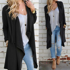 Womens Solid Casual Long Sleeve Asymmetric Cardigan Open Front Tops Pockets Coat
