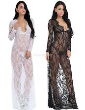 Women Sexy Lingerie Sleepwear Lace Floral Cover Up Long Dress Nightgown Babydoll