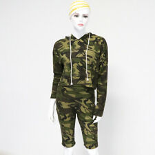 Womens Camouflage Shorts Set Crop Hoodie Top Army Print Hooded Jumper 2 Pieces