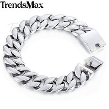 18mm Boys Mens Chain 316L Stainless Steel Silver Tone Bracelet Curb Cuban Link