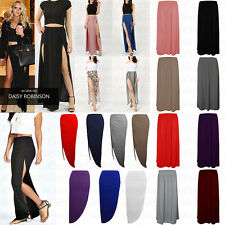 Ladies Plain Tropical Monochrome Side Ruched Double Split Fold Over MAXI SKIRT