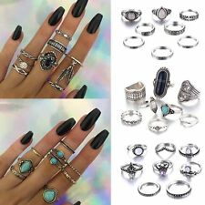 8Pcs Punk Vintage Turquoise Feather Finger Knuckle Band Midi Rings Set Jewelry