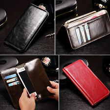 For LG OPPO Xiaomi HTC Real Genuine Flip Leather Purse Wallet Card Case Cover