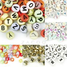 70pcs Acrylic Alphabet Letter Beads Flat Round Jewelry Making 7x7mm Wholesale BW