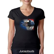 Patriotic V-Neck Shirt Flying American Eagle USA Flag Tee Pride July 4th JUNIORS