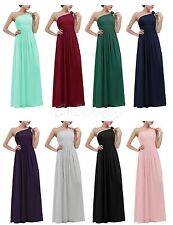 Women's Chiffon One-shoulde Maxi Bridesmaid Evening Ball Gown Long Prom Dress
