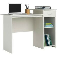 White Student Desk With Drawer Adjustable Shelf Writing Study Computer Table