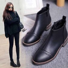 Womens Black Pointed Toe Leather Punk Pull On Flat Shoes Ankle Riding Boots Size